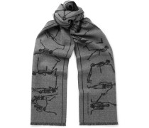 Fringed Intarsia Felted Wool Scarf - Gray