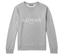 Logo-print Mélange Loopback Cotton-jersey Sweatshirt - Gray