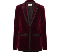 Burgundy Slim-fit Passementerie-trimmed Cotton-velvet Blazer - Burgundy
