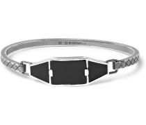 Oxidised Sterling Silver, Enamel And Onyx Bracelet