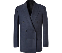 Navy Double-breasted Prince Of Wales Checked Wool Suit Jacket - Navy