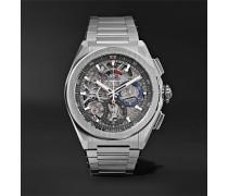 Defy El Primero 21 Chronograph 44mm Brushed-titanium Watch - Silver