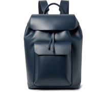 Leather Backpack - Navy