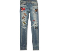 Skinny-fit Appliquéd Panelled Distressed Stretch-denim Jeans