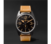 Br 123 Heritage Automatic 41mm  Pvd-coated Steel And Leather Watch