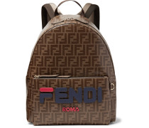 Logo-appliquéd Leather-trimmed Printed Coated-canvas Backpack - Brown