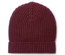 Ribbed Cashmere Beanie - Burgundy