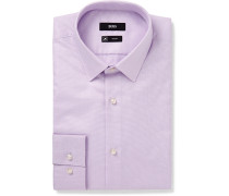 Lilac Isko Slim-fit Cotton-jacquard Shirt