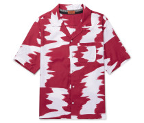 Camp-collar Printed Voile Shirt - Red