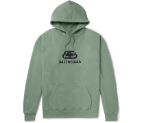 Logo-print Loopback Cotton-jersey Hoodie - Green