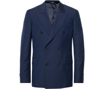 Navy Slim-fit Double-breasted Wool And Mohair-blend Suit Jacket - Navy