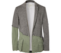 Slim-fit Panelled Distressed Herringbone Wool And Cotton-canvas Blazer - Charcoal