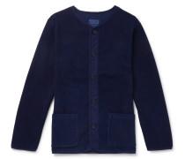 Collarless Stretch-cotton Terry Jacket - Indigo