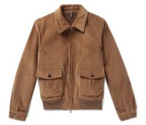 Cotton-corduroy Bomber Jacket - Beige
