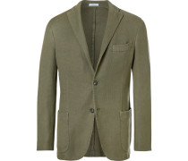 Olive Unstructured Waffle-knit Cotton And Linen-blend Blazer