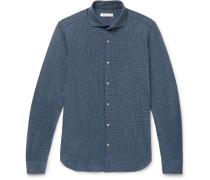 Andrew Slim-fit Cutaway-collar Puppytooth Virgin Wool And Cotton-blend Shirt - Blue