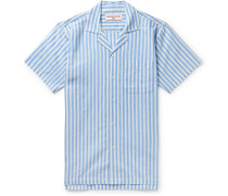 + 007 Thunderball Camp-Collar Striped Linen and Cotton-Blend Shirt