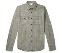 Checked Cotton And Linen-blend Overshirt - Gray