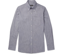 Slim-fit Button-down Collar Striped Cotton Shirt - Blue