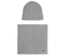 Ribbed Cashmere Beanie And Scarf Set - Gray