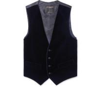 Navy Grosgrain-Trimmed Cotton-Velvet Waistcoat