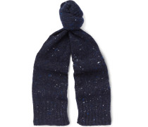 Donegal Wool And Cashmere-blend Scarf - Navy