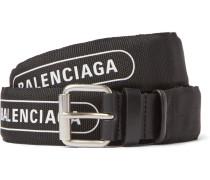 3cm Black Logo-print Canvas And Leather Belt - Black