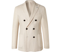 Slim-Fit Double-Breasted Cotton and Linen-Blend Blazer
