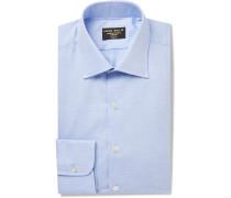 Light-Blue Slim-Fit Brushed Cotton-Twill Shirt