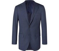 Navy Slim-Fit Prince of Wales Checked Wool Suit Jacket