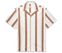 Canty Camp-Collar Striped Cotton-Poplin Shirt