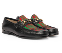 Roos Horsebit Embroidered Leather And Checked Tweed Loafers