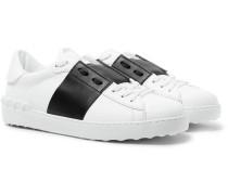 Valentino Garavani Open Striped Leather Sneakers - White