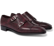 Caine Cap-toe Burnished-leather Monk-strap Shoes