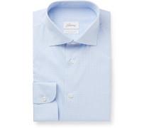 Light-Blue Slim-Fit Checked Cotton Shirt
