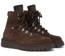 Egide Shearling-lined Suede And Nylon Hiking Boots - Brown