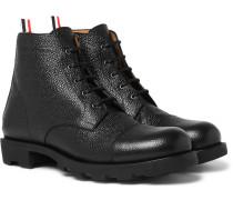 Pebble-grain Leather Cap-toe Boots - Black