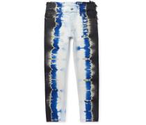 Slim-Fit Distressed Tie-Dyed Denim Jeans