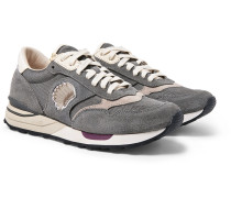 Roland Leather-trimmed Suede And Mesh Sneakers - Gray