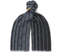 Fringed Striped Wool-Blend Jacquard Scarf