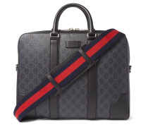 Leather-Trimmed Monogrammed Coated-Canvas Briefcase