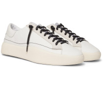 Tangutsu Suede-trimmed Leather Sneakers - White