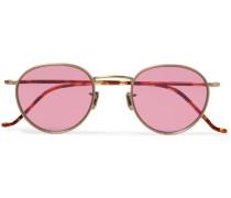 Round-Frame Gold-Tone Titanium and Tortoiseshell Acetate Sunglasses