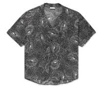 Camp-Collar Printed Crepe de Chine Shirt