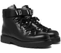 Valentino Garavani Rockstud Polished-leather Boots - Black