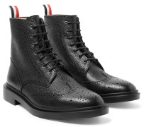 Pebble-Grain Leather Wingtip Boots