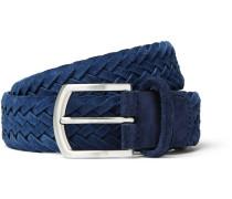 3.5cm Navy Woven Suede Belt