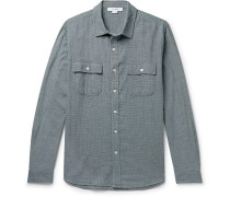 Indigo-dyed Puppytooth Cotton Shirt - Navy