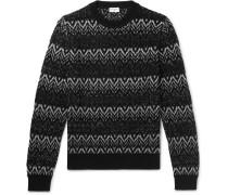 Slim-fit Fair Isle Metallic Wool-blend Sweater - Black