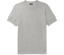 Mélange Cotton-jersey Henley T-shirt - Gray